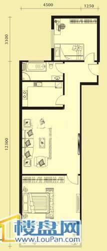 亨特国际二期3栋E-1户型2室1厅1卫1厨