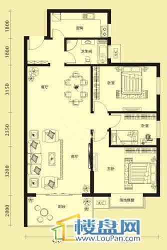 亨特国际二期3栋D户型3室2厅1卫1厨