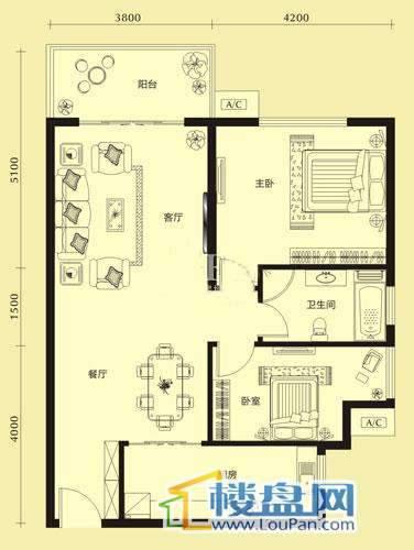 亨特国际二期3栋B户型2室2厅1卫1厨