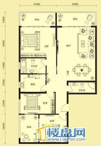 亨特国际二期3栋A户型3室2厅2卫1厨