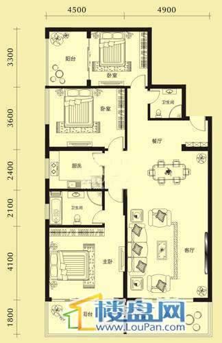 亨特国际二期3栋E户型3室2厅2卫1厨