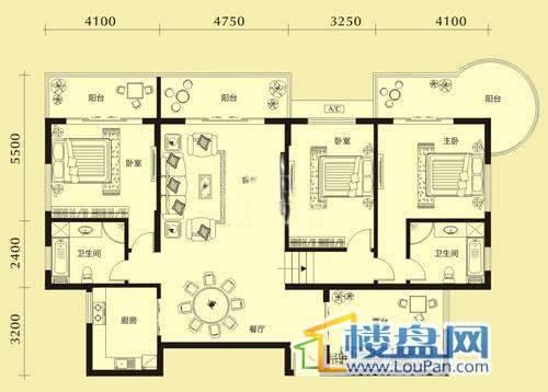 亨特国际二期4、5栋A/B户型3室2厅2卫1厨