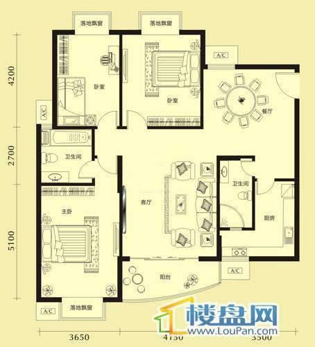 亨特国际二期3、4、5栋C/D户型3室2厅2卫1厨