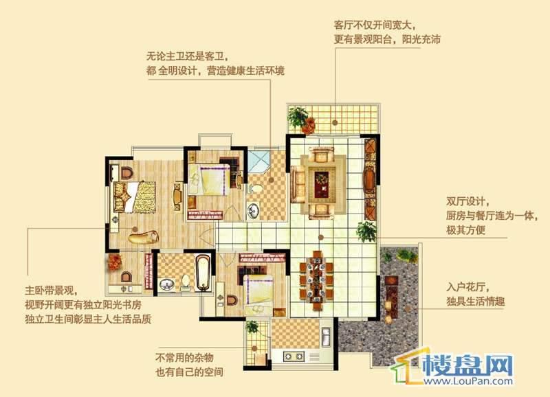 四季花溪1户型3室2厅2卫1厨