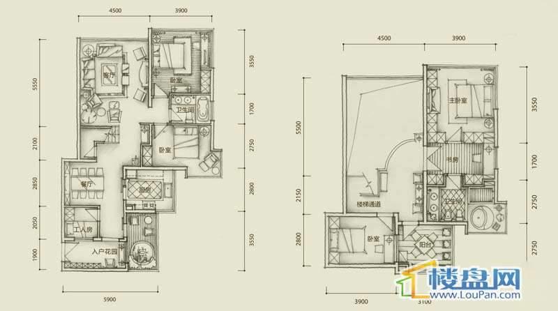 中央公园G户型4室2厅2卫1厨