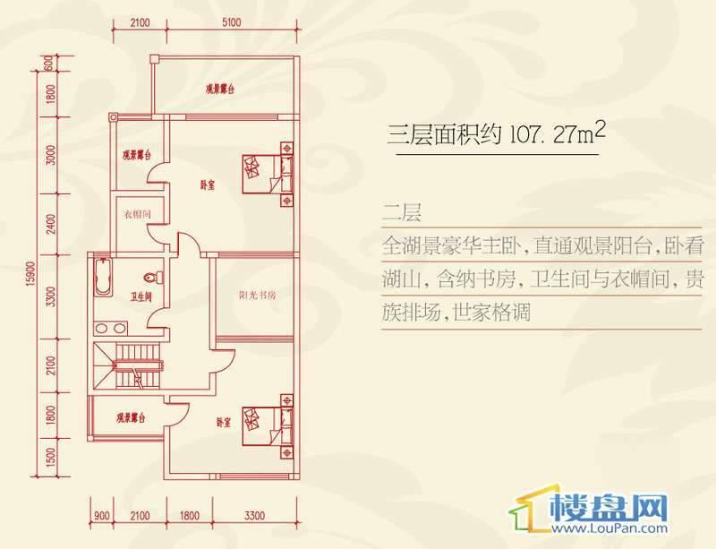 泉天下国际公馆临湖别墅E2户型二层平面图4室4厅4卫1厨