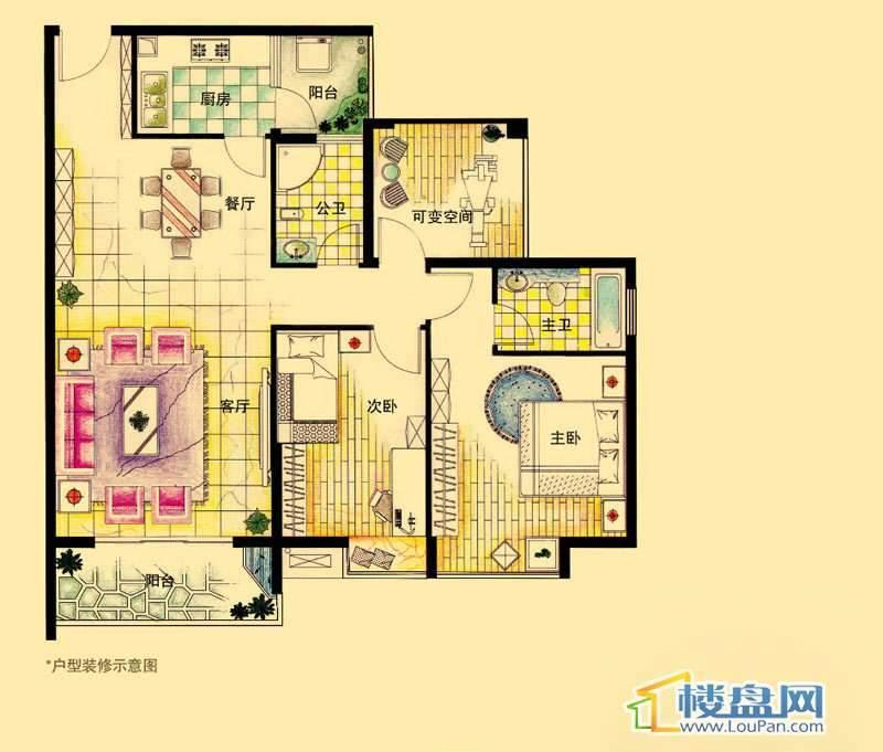 虹祥花郡A2号A户型2室2厅2卫1厨