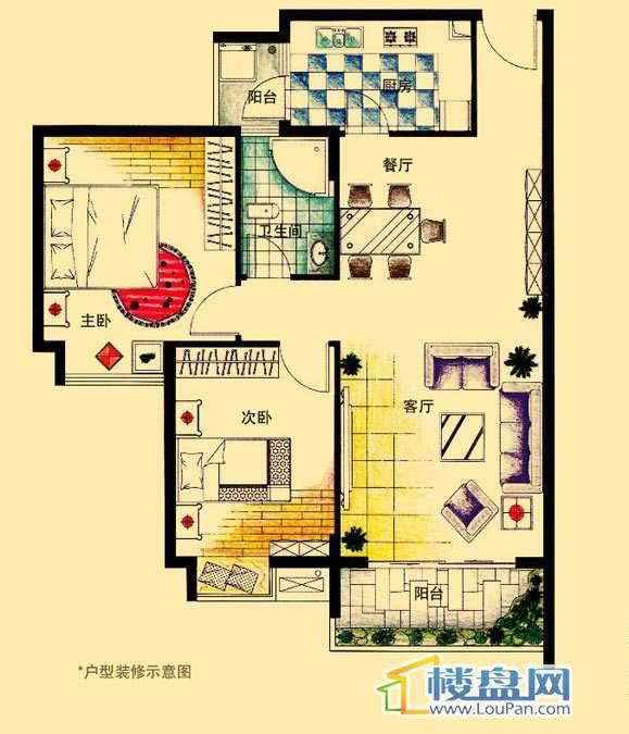 虹祥花郡A1号B户型2室2厅1卫1厨