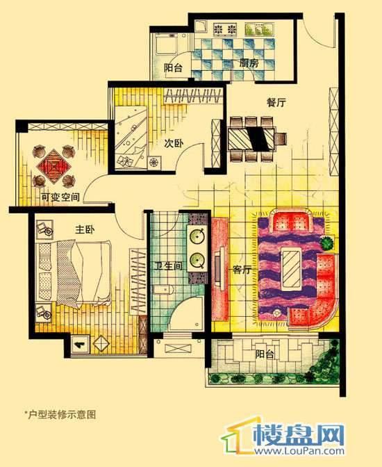 虹祥花郡A2号B户型2室2厅1卫1厨