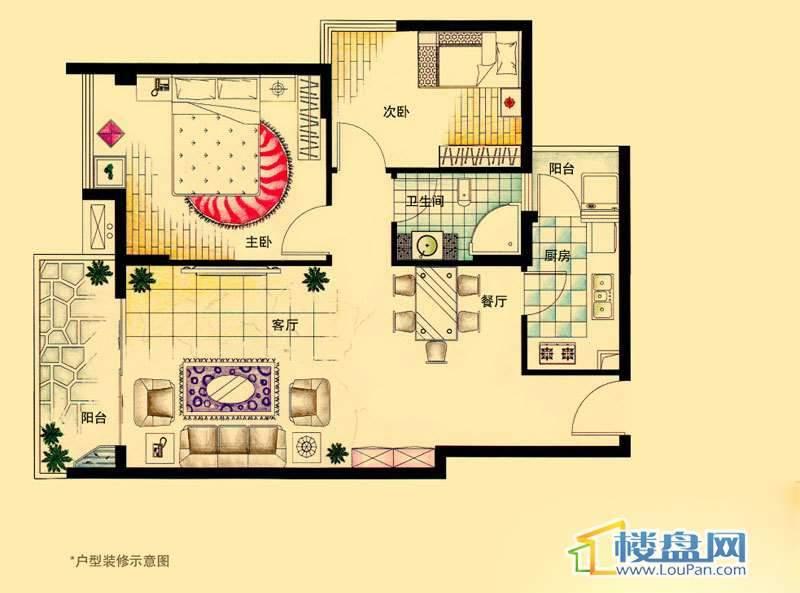 虹祥花郡A1-A3号C户型2室2厅1卫1厨