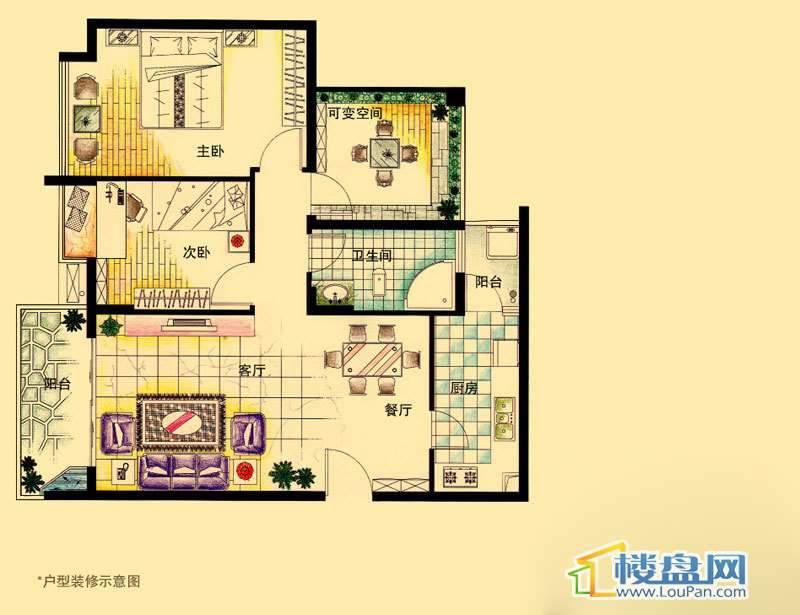 虹祥花郡A1-A3号D户型2室2厅1卫1厨