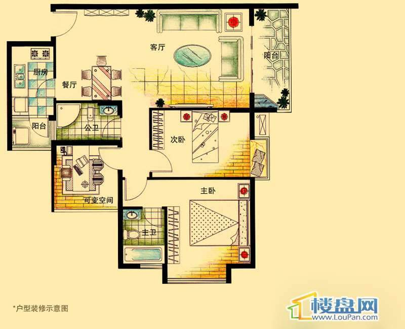 虹祥花郡A1-A3号F户型2室2厅2卫1厨
