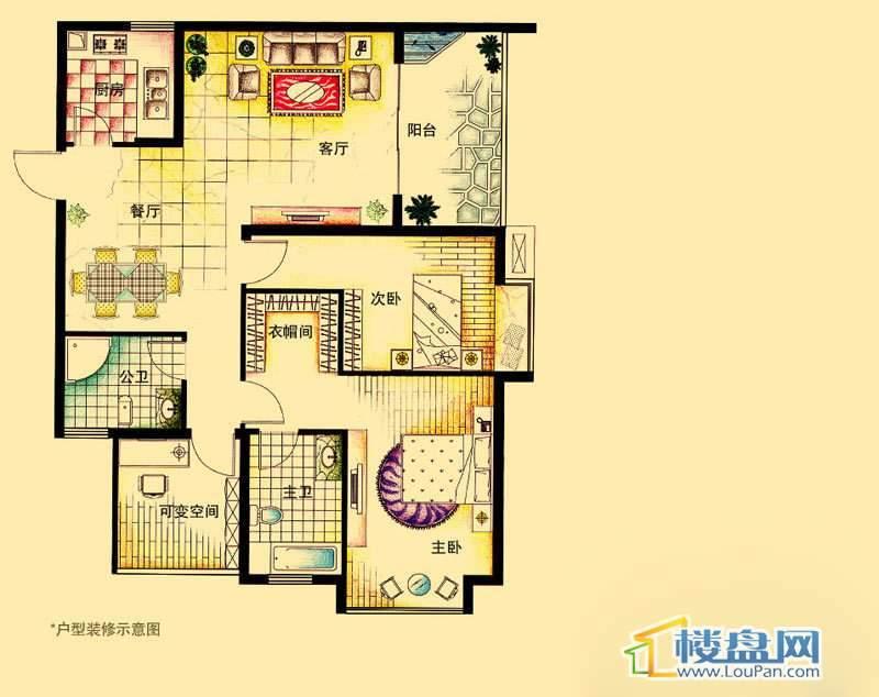 虹祥花郡A2号E户型2室2厅2卫1厨