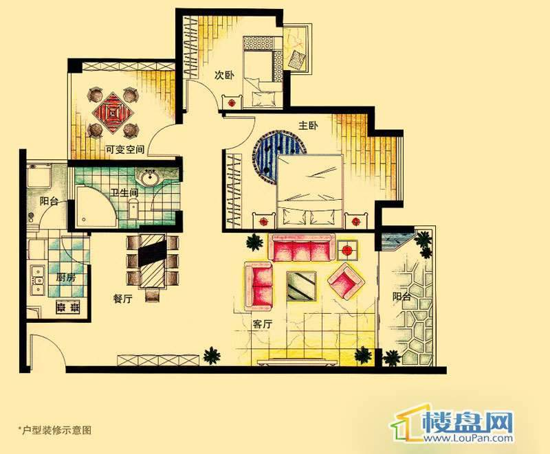虹祥花郡A1-A3号E户型2室2厅1卫1厨
