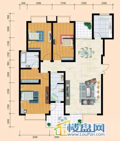 花溪御院E户型3室2厅2卫1厨