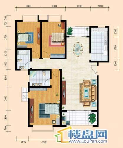 花溪御院A户型2室2厅2卫1厨