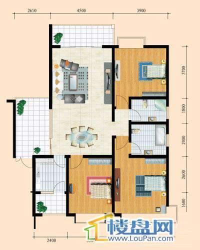花溪御院H1户型3室2厅2卫1厨