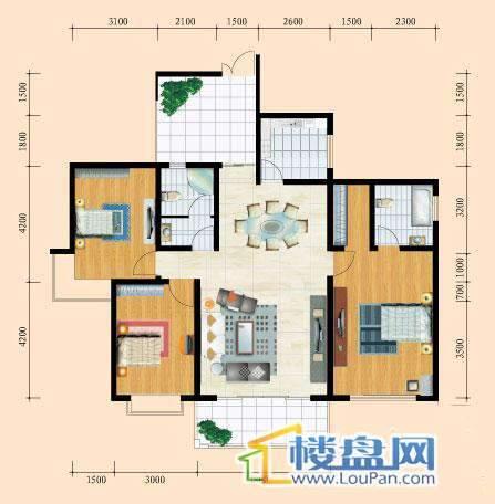 花溪御院J3户型3室2厅2卫1厨