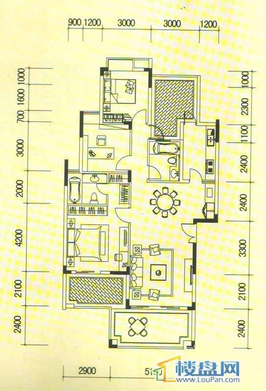 南山高地澜山组团7栋C4户型3室2厅2卫1厨