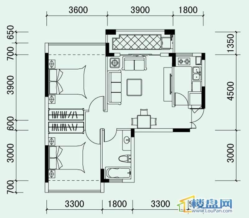 南山高地花里组团3A栋B1户型2室2厅1卫1厨