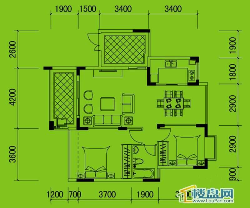 南山高地3B/4A栋C2户型2室2厅1卫1厨