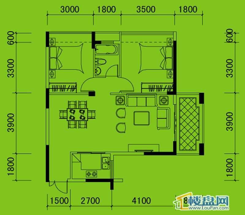 南山高地3B/4A栋C3户型2室2厅1卫1厨