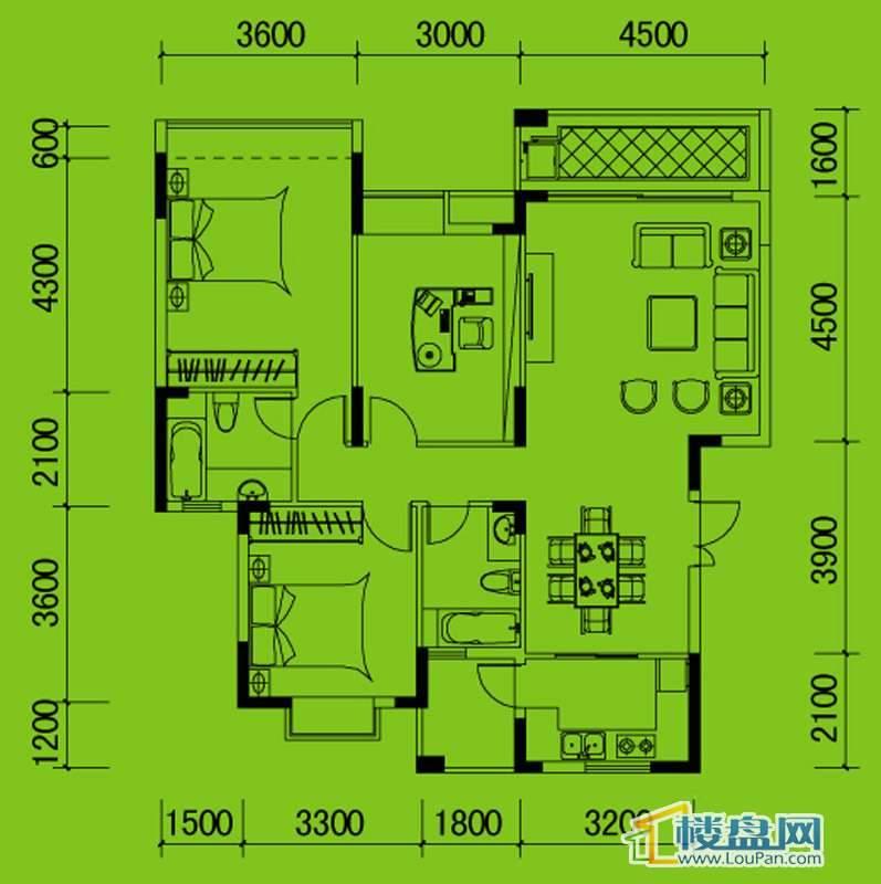南山高地3B/4A栋A户型3室2厅2卫1厨