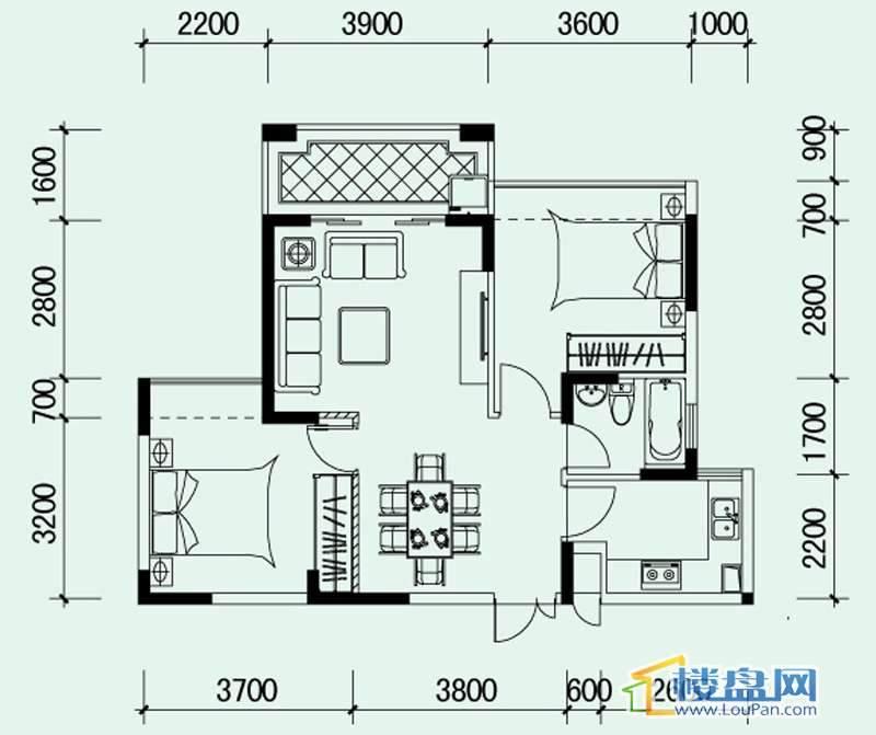 南山高地4B/5A栋G4户型2室2厅1卫1厨