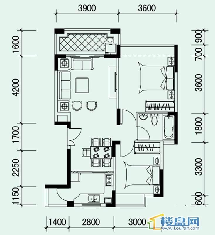 南山高地4B/5A栋G5户型2室2厅1卫1厨