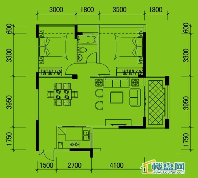 南山高地5B栋D2户型2室2厅1卫1厨