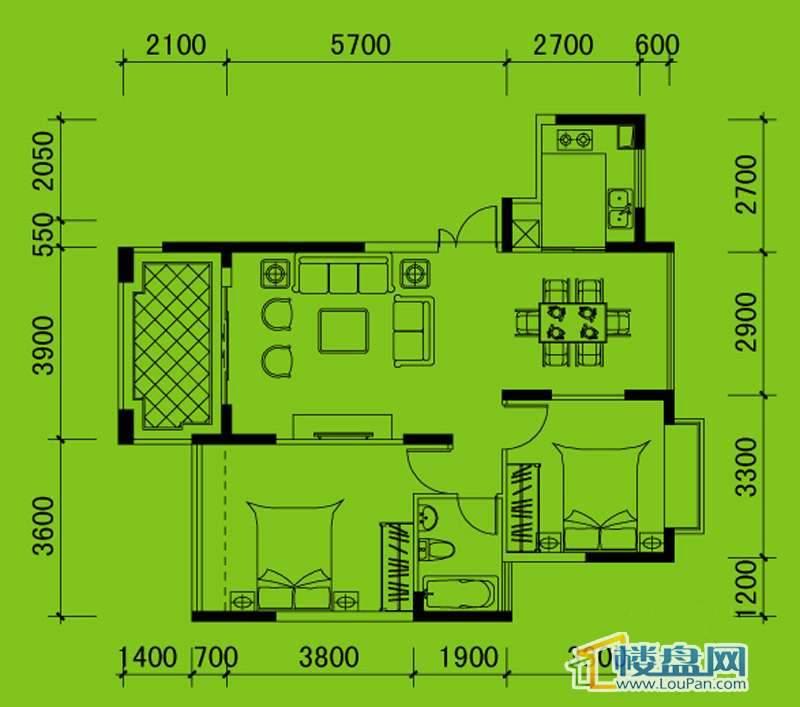 南山高地5B栋D3户型2室2厅1卫1厨