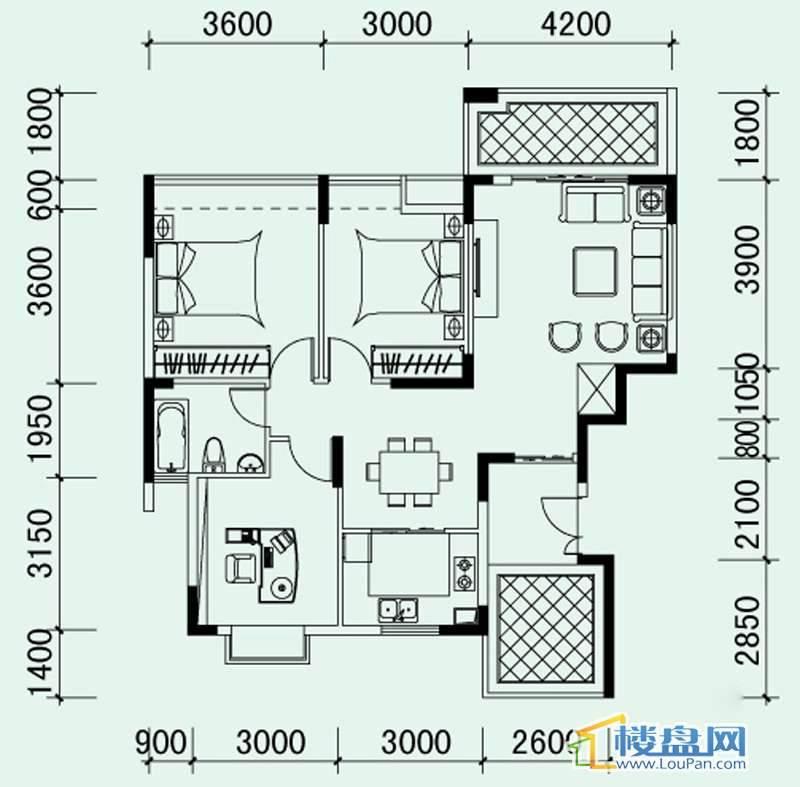南山高地5B栋G1户型3室2厅1卫1厨