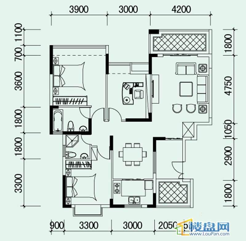 南山高地5B栋G2户型3室2厅2卫1厨