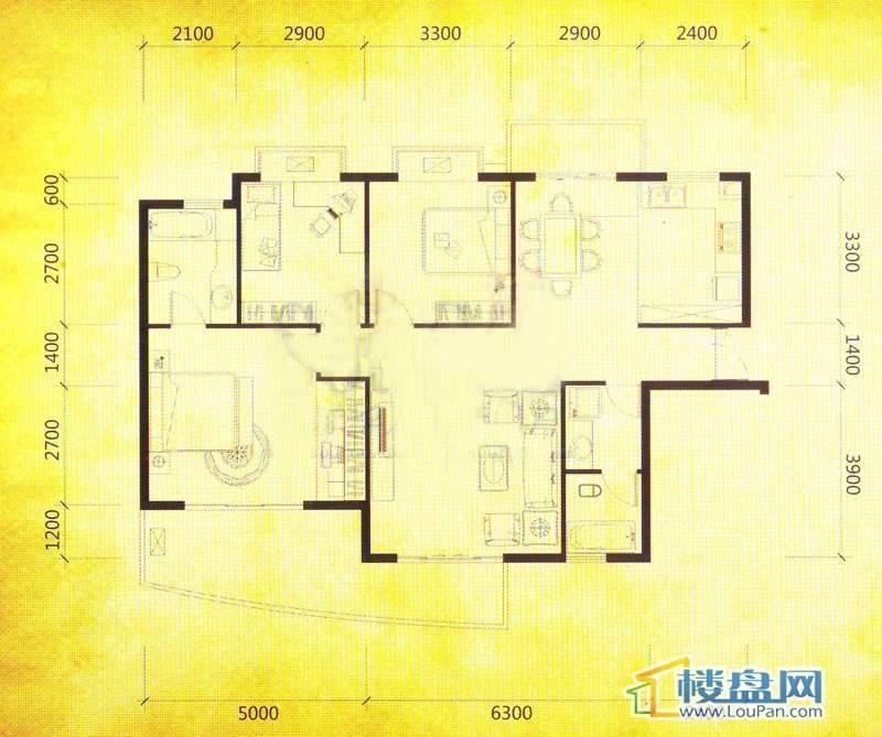 华颐蓝天A1户型3室2厅2卫1厨