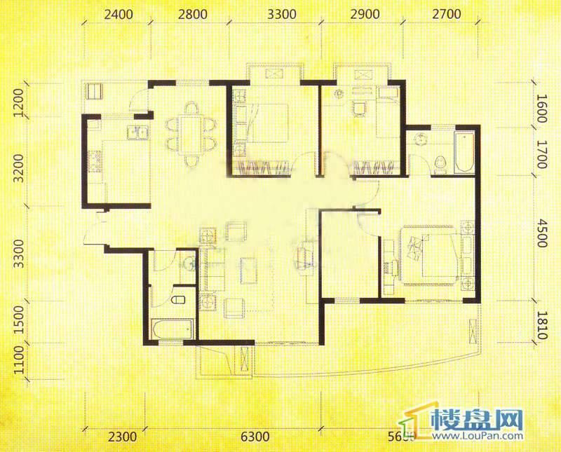 华颐蓝天B2户型3室2厅2卫1厨