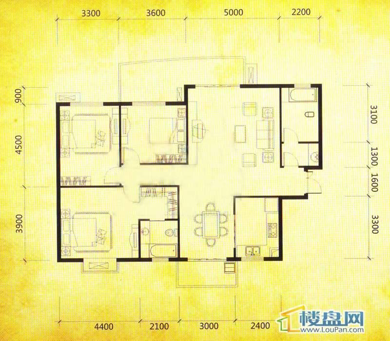 华颐蓝天E2户型3室2厅2卫1厨