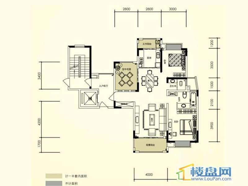 臣功新天地带空中花园 2号楼1单元3号房2室2厅2卫1厨