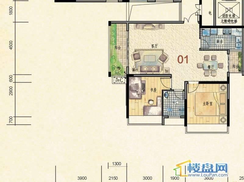 蒙特卡尼水映山城D1栋A、B单元1户型2室2厅1卫1厨