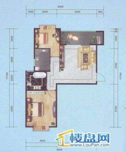 南湖郡二、三、七号楼A户型2室2厅1卫1厨