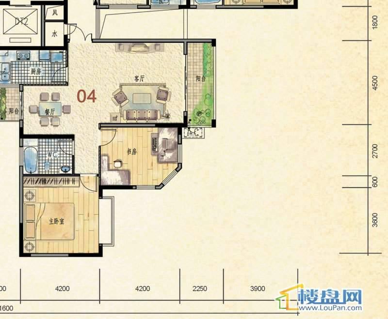 蒙特卡尼水映山城D1栋A、B单元4户型2室2厅1卫1厨