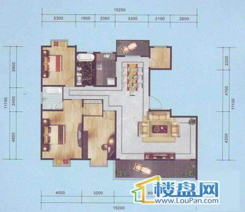 南湖郡六号楼标准偶数层4室2厅2卫1厨