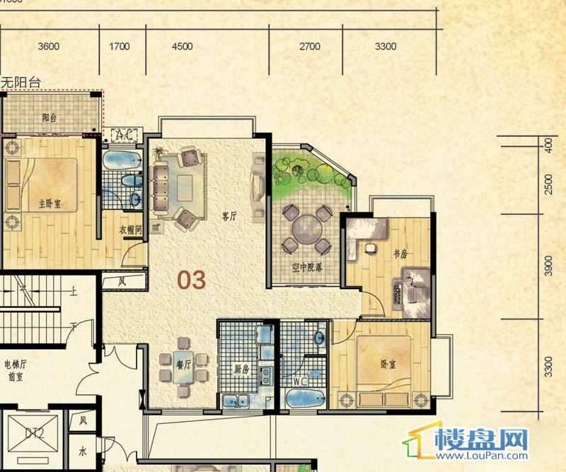 蒙特卡尼水映山城D1栋A、B单元3户型3室2厅2卫1厨