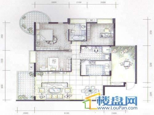 碧云山居A栋A8户型1-14层3室2厅2卫1厨
