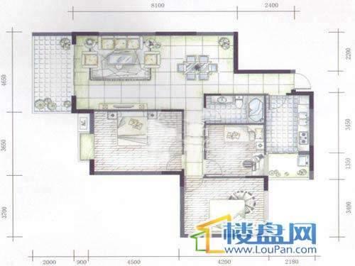 碧云山居A栋A4户型2-16层3室2厅1卫1厨