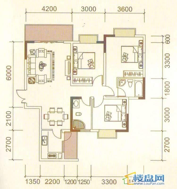 远大生态风景3、4号楼(33层)K1户型3室2厅2卫1厨