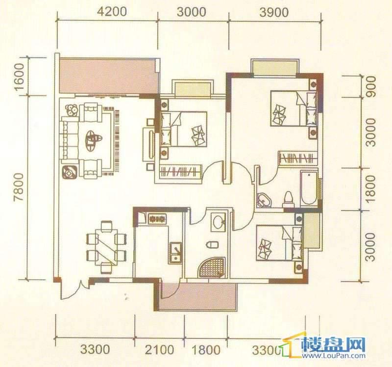远大生态风景3、4号楼(33层)K2户型3室2厅2卫1厨