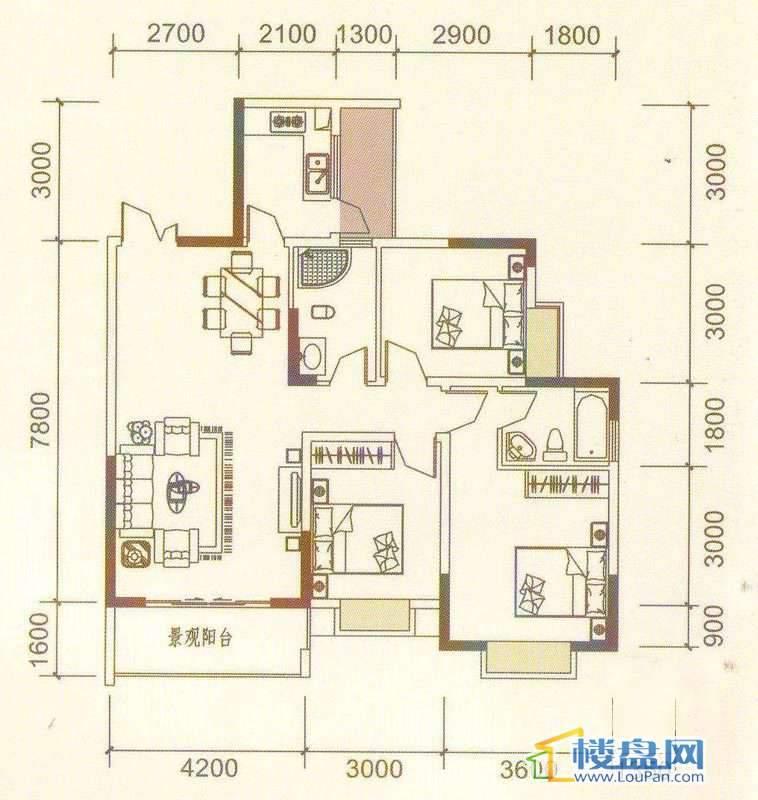 远大生态风景3、4号楼(33层)K3户型3室2厅2卫1厨