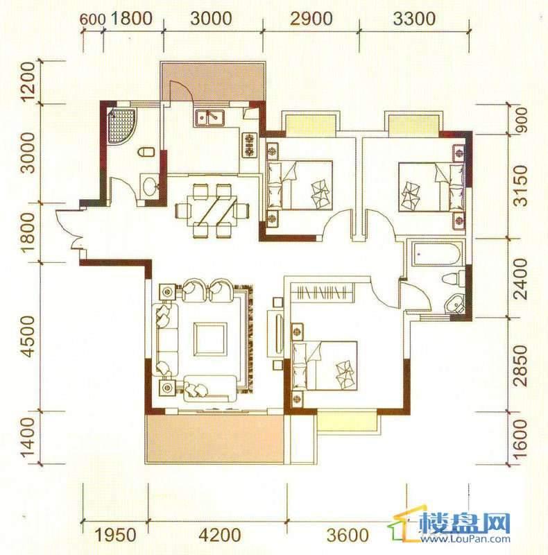 远大生态风景3号楼(33层)K4户型3室2厅2卫1厨