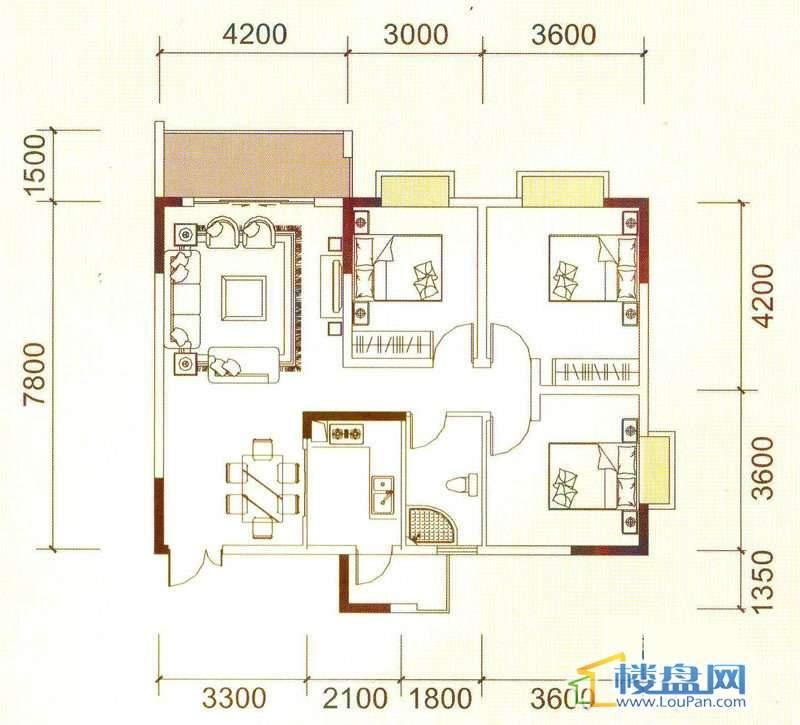 远大生态风景3号楼(33层)K5户型3室2厅1卫1厨