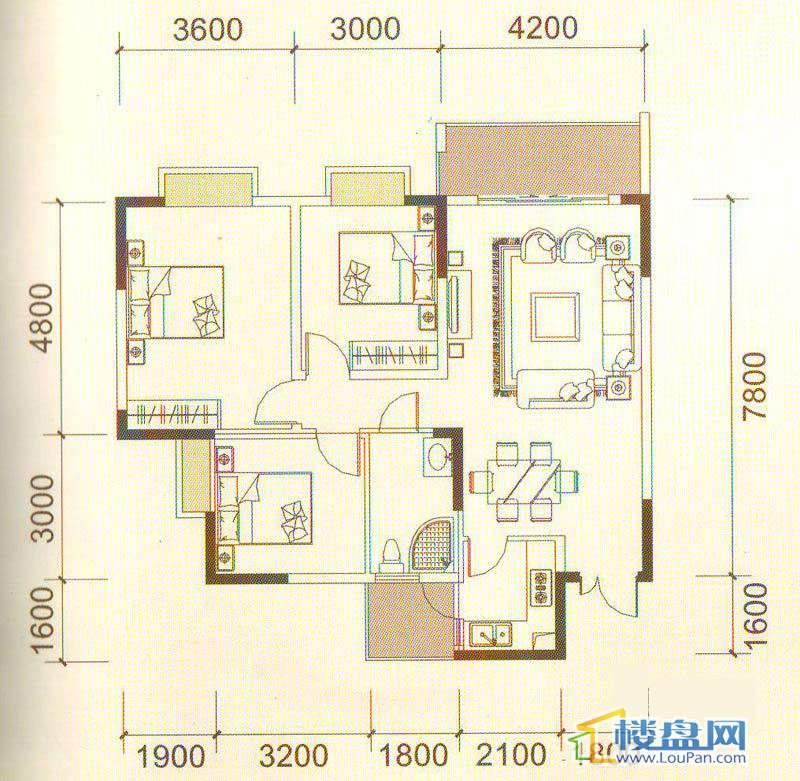 远大生态风景3号楼(33层)K6户型3室2厅1卫1厨